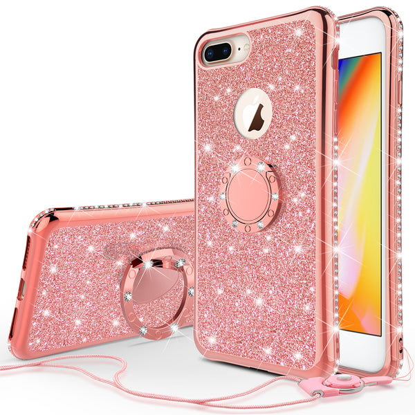 apple iphone 7 plus glitter bling fashion 3 in 1 case - rose gold - www.coverlabusa.com