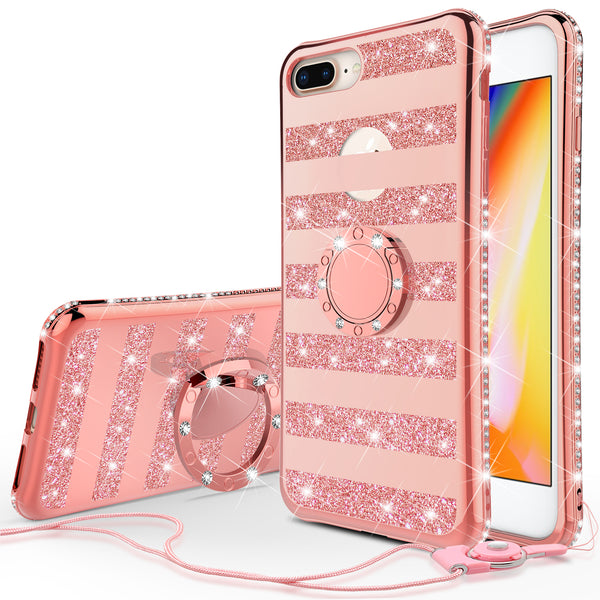 apple iphone 7 plus glitter bling fashion 3 in 1 case - rose gold stripe - www.coverlabusa.com
