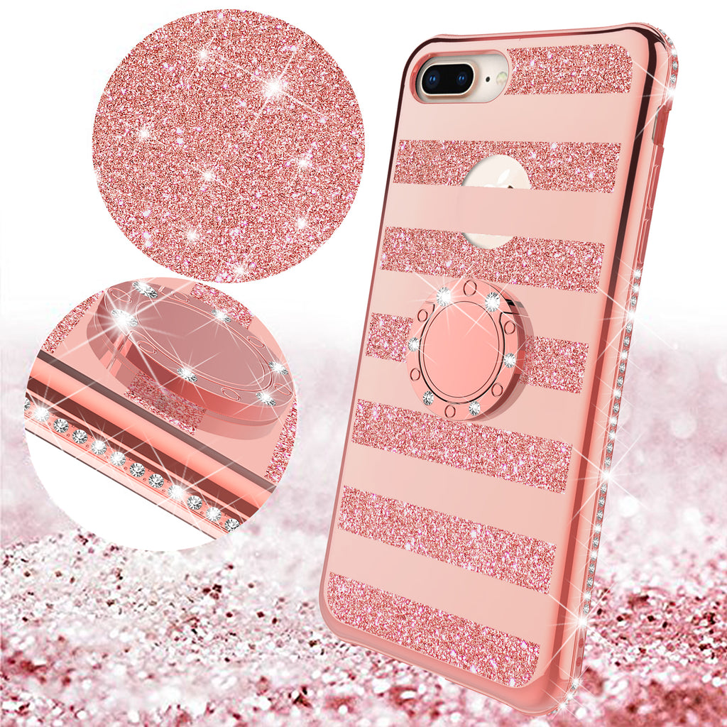 more photos c43c9 43a6c Glitter Cute Phone Case Girls Kickstand Compatible for Apple iPhone 8 Plus  Case,Bling Diamond Bumper Ring Stand Soft Sparkly iPhone 8 Plus - Rose Gold  ...