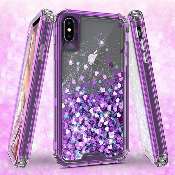 hard clear glitter phone case for apple iphone xs max - purple - www.coverlabusa.com