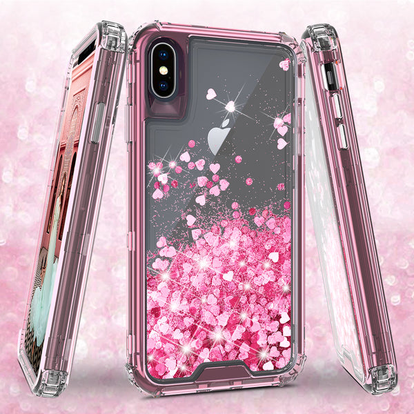 hard clear glitter phone case for apple iphone xs max - pink - www.coverlabusa.com