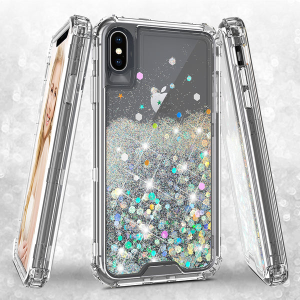hard clear glitter phone case for apple iphone xs max - clear - www.coverlabusa.com