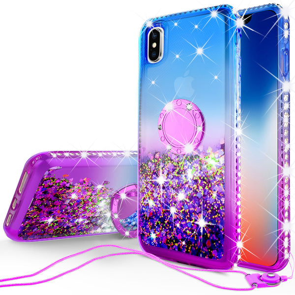glitter ring phone case for Apple iPhone XS Max - blue gradient - www.coverlabusa.com