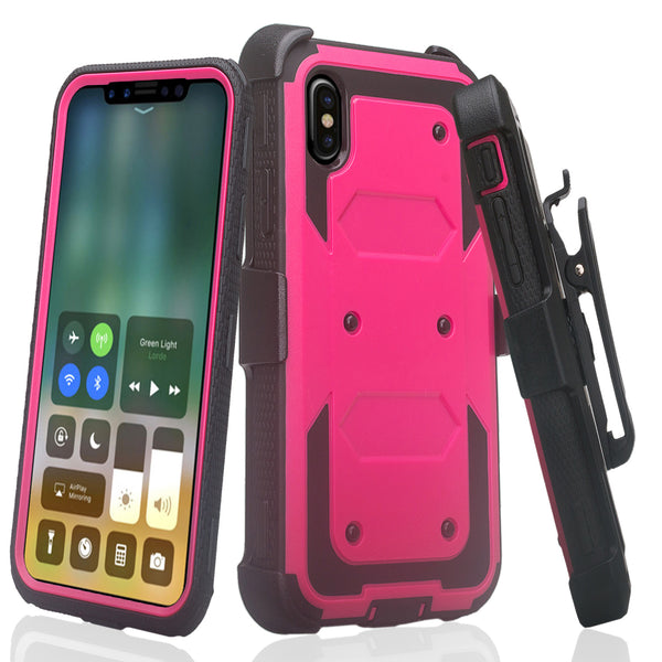 Apple iPhone 11 pro max heavy duty holster case - hot pink - www.coverlabusa.com