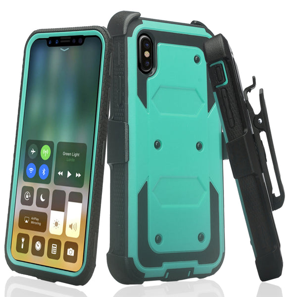 Apple iPhone XR heavy duty holster case - teal - www.coverlabusa.com