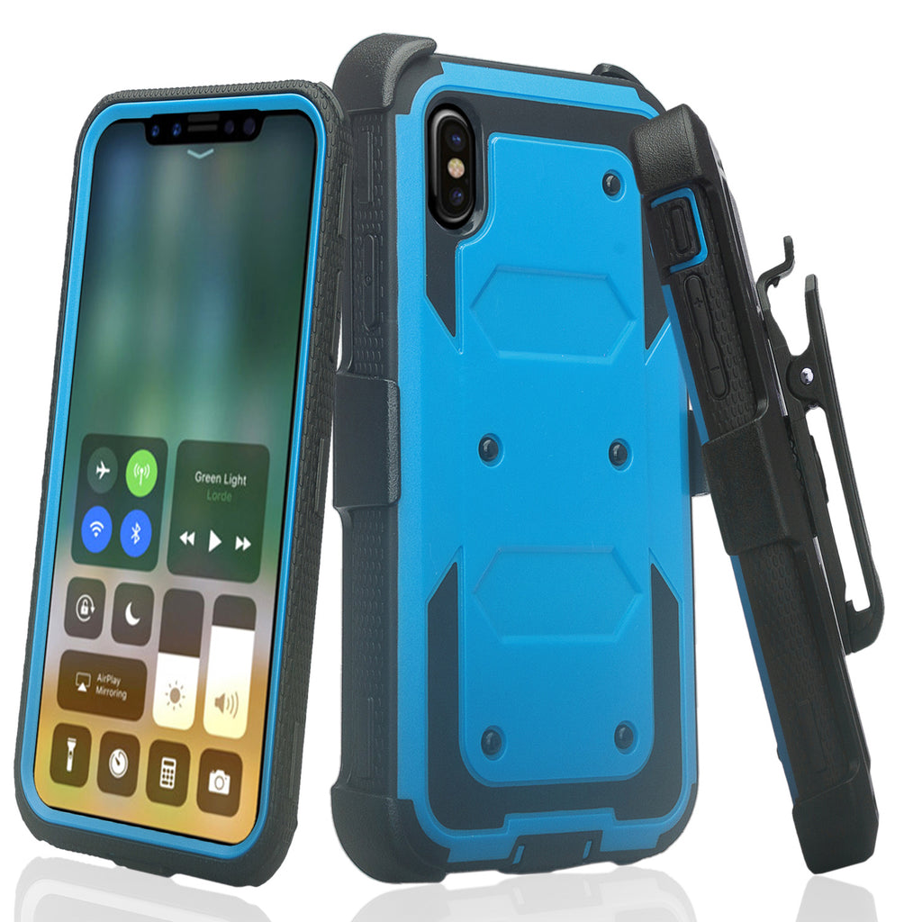 online store ef3ef 58d7d Apple iPhone X | iPhone Ten Case, Triple Protection 3-1 w/ Built in Screen  Protector Heavy Duty Holster Shell Combo Case - Blue