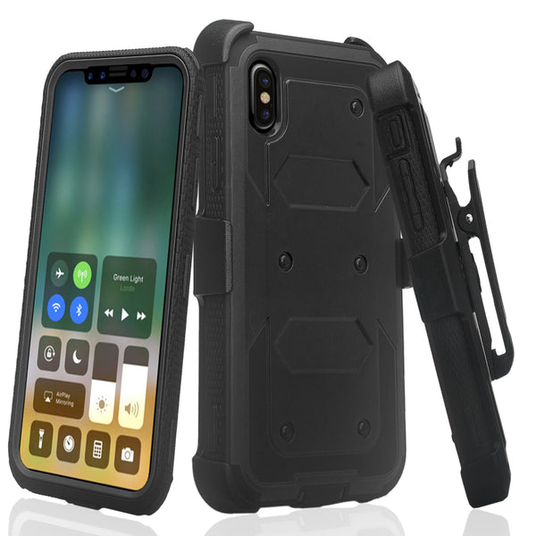 Apple iPhone XR heavy duty holster case - black - www.coverlabusa.com
