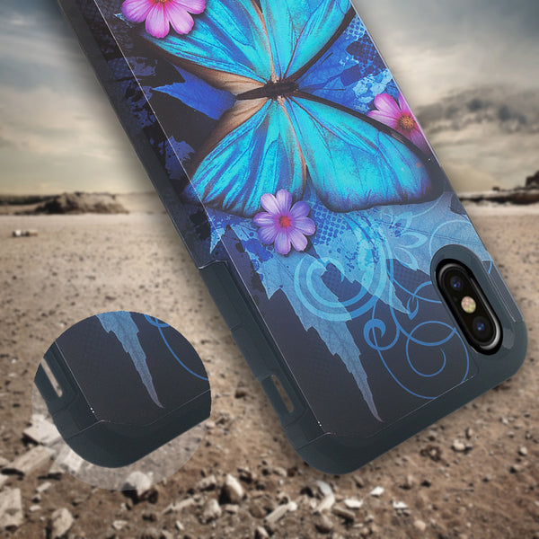 apple iphone xs max hybrid case - blue butterfly - www.coverlabusa.com