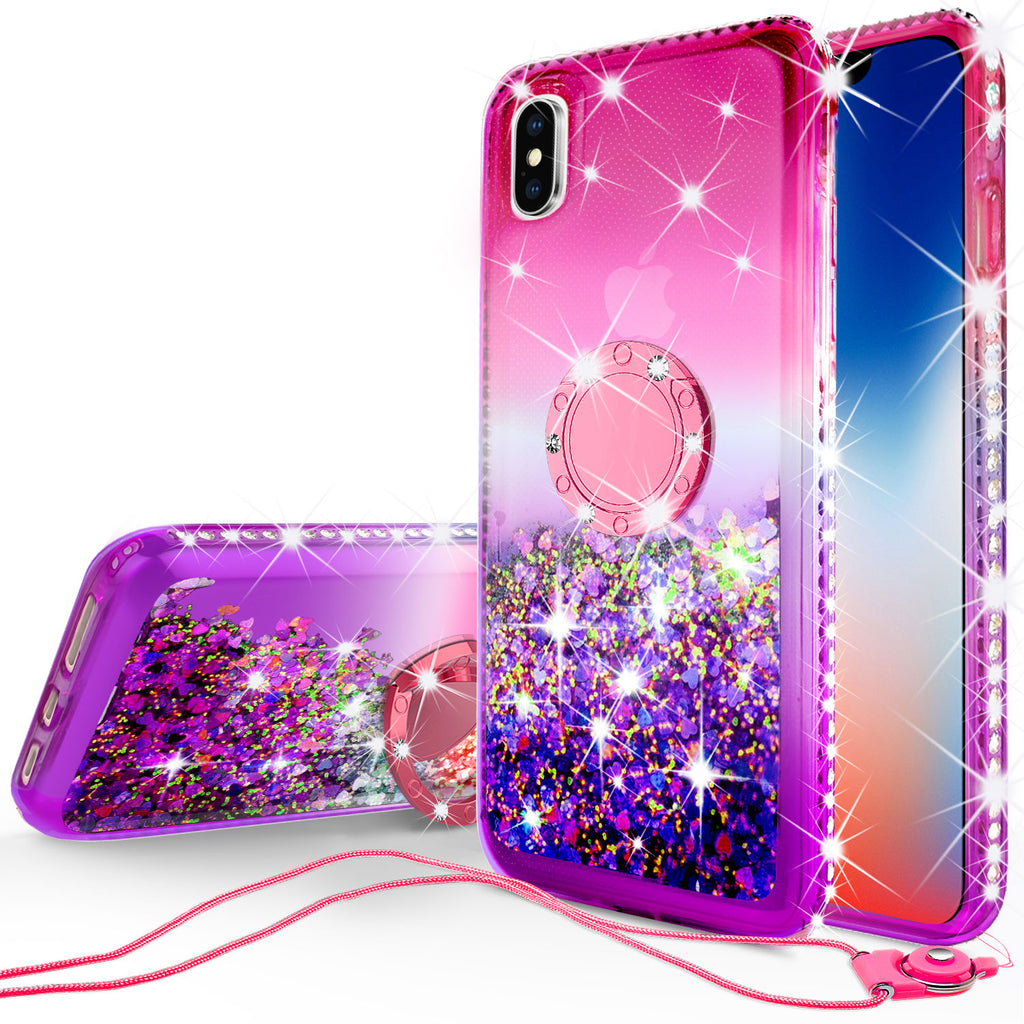 new style da6c4 ff5a3 Glitter Phone Case Kickstand Compatible for Apple iPhone XS Max Case,  iPhone XS Max Case,Ring Stand Liquid Floating Quicksand Bling Sparkle  Protective ...