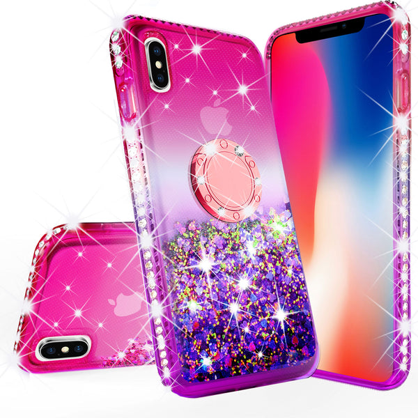 glitter ring phone case for Apple iPhone XS Max - pink gradient - www.coverlabusa.com