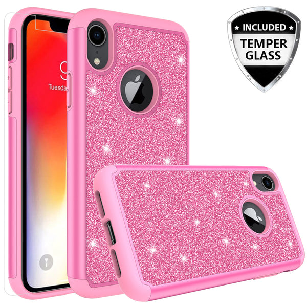 Apple iPhone XR Glitter Hybrid Case - Hot Pink - www.coverlabusa.com