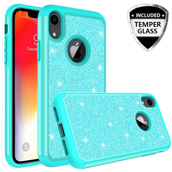 Apple iPhone XR Glitter Hybrid Case - Teal - www.coverlabusa.com