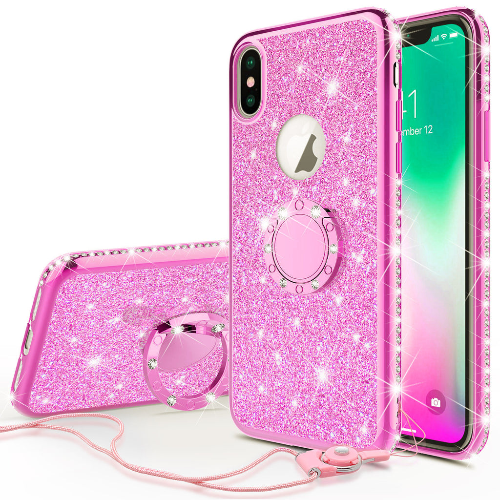 sports shoes 4da90 3186d Apple iPhone XS Max , Apple A1921 Case, Glitter Cute Phone Case Girls with  Kickstand,Bling Diamond Rhinestone Bumper Ring Stand Sparkly Luxury Clear  ...