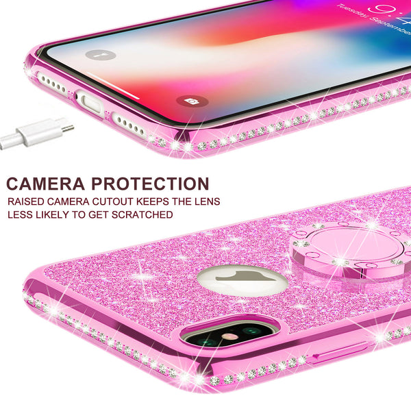 apple iphone xs max glitter bling fashion case - hot pink - www.coverlabusa.com