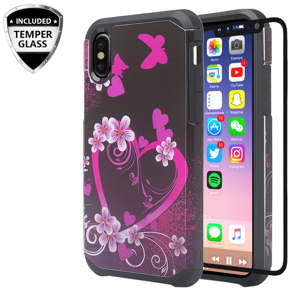 apple iphone xr hybrid case - heart butterflies - www.coverlabusa.com