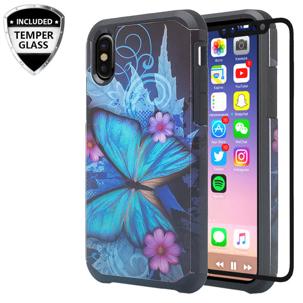 apple iphone xr hybrid case - blue butterfly - www.coverlabusa.com