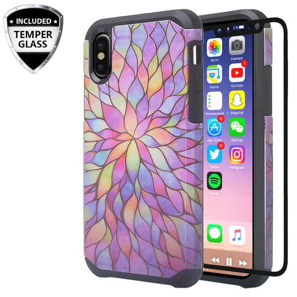 apple iphone xr hybrid case - rainbow flower - www.coverlabusa.com
