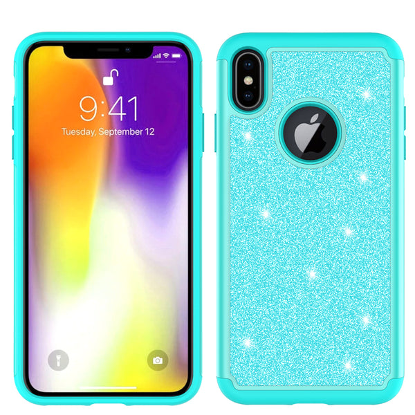 Apple iPhone XS Max Glitter Hybrid Case - Teal - www.coverlabusa.com