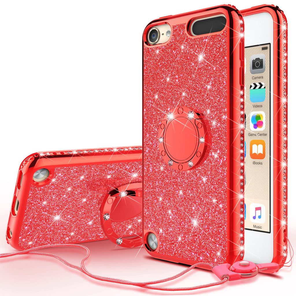 official photos 77f89 13c52 Glitter Cute Phone Case Girls Kickstand Compatible for Apple iPod Touch  6/iPod Touch 5 Case,Bling Diamond Bumper Ring Stand Soft Sparkly iPod Touch  ...