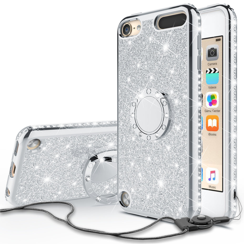 official photos 4f5da 12be6 Glitter Cute Phone Case Girls Kickstand Compatible for Apple iPod Touch  6/iPod Touch 5 Case,Bling Diamond Bumper Ring Stand Soft Sparkly iPod Touch  ...
