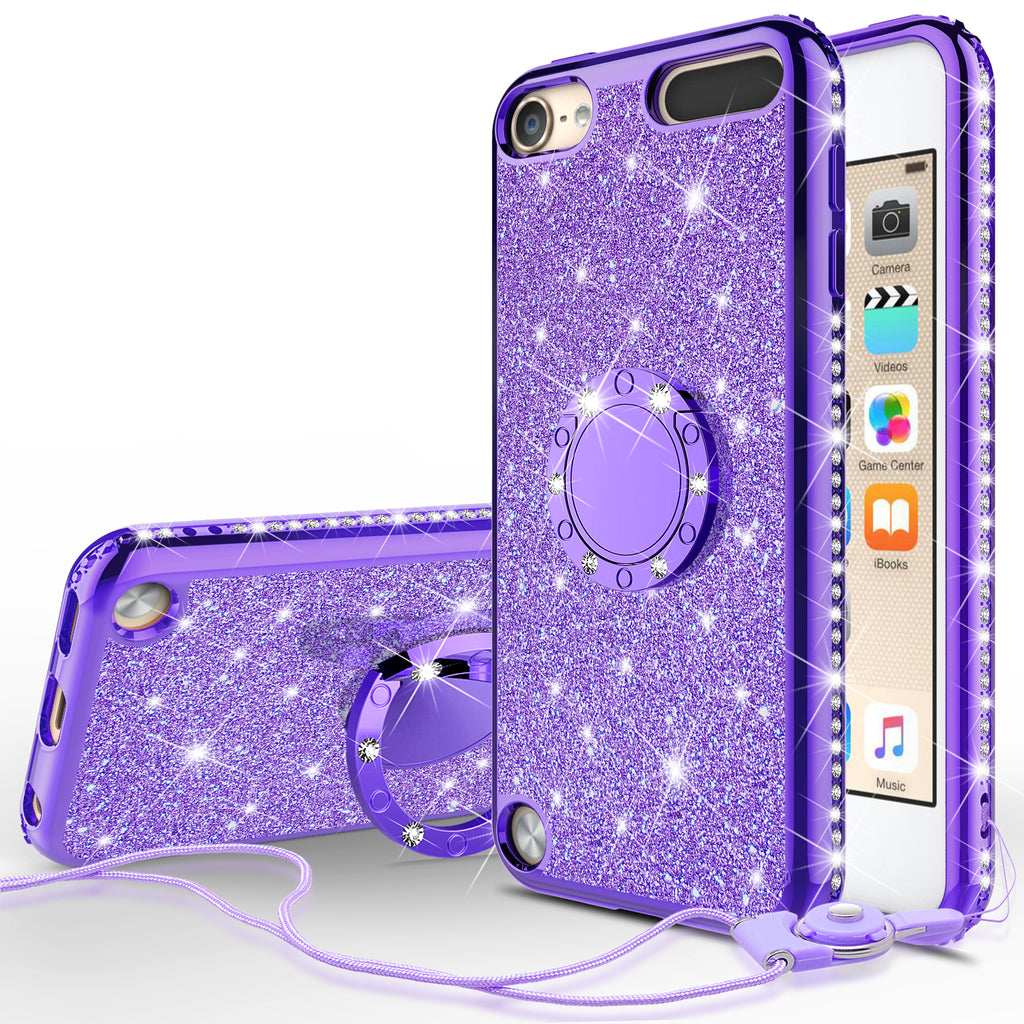 official photos 42515 f3890 Glitter Cute Phone Case Girls Kickstand Compatible for Apple iPod Touch  6/iPod Touch 5 Case,Bling Diamond Bumper Ring Stand Soft Sparkly iPod Touch  ...