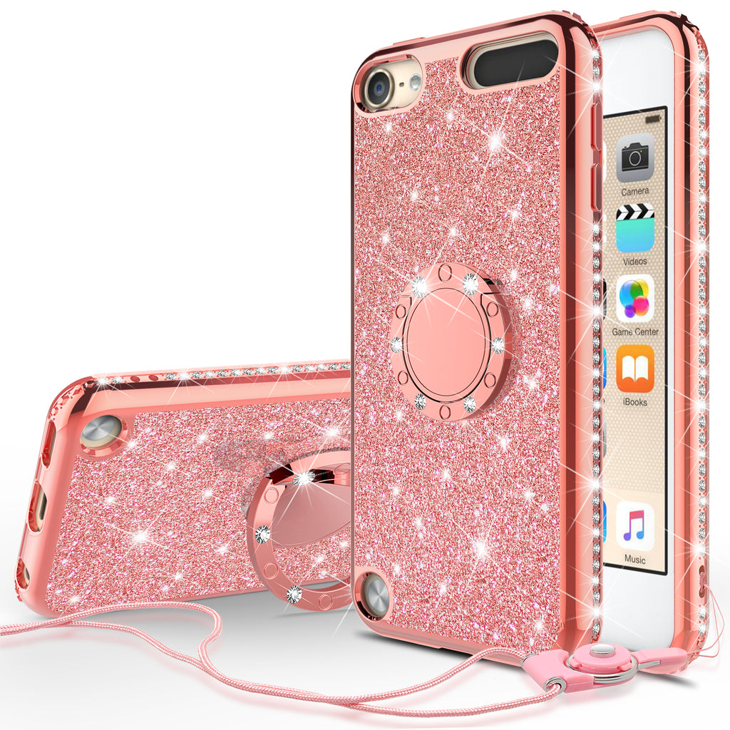 official photos 36771 e632d Glitter Cute Phone Case Girls Kickstand Compatible for Apple iPod Touch  6/iPod Touch 5 Case,Bling Diamond Bumper Ring Stand Soft Sparkly iPod Touch  ...