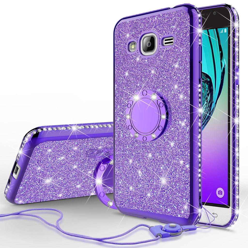wholesale dealer 07b2e e855b Samsung Galaxy J3, Galaxy J3 V Case, Glitter Cute Phone Case Girls with  Kickstand,Bling Diamond Rhinestone Bumper Ring Stand Sparkly Luxury Clear  Thin ...