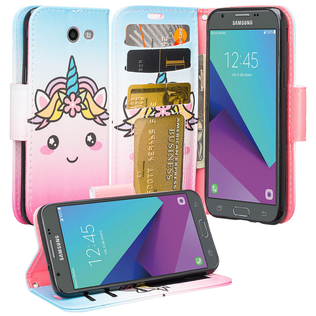 50d253a8f21 samsung galaxy j3 emerge leather wallet case - white unicorn -  www.coverlabusa.com