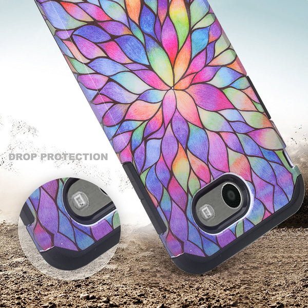 Samsung Galaxy J7 (2017) / J7 Sky Pro / J7 Perx / J7 V Case, Slim Hybrid [Shock/Impact Resistant] Dual Layer Protective Case Cover for Galaxy J7 (2017) - Rainbow Flower