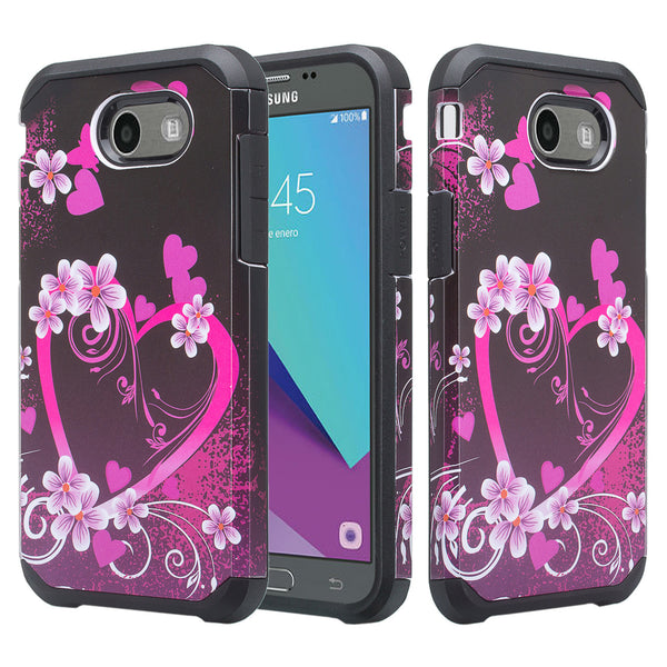 Samsung Galaxy J7 (2017) / J7 Sky Pro / J7 Perx / J7 V Case, Slim Hybrid [Shock/Impact Resistant] Dual Layer Protective Case Cover for Galaxy J7 (2017) - Heart Butterflies
