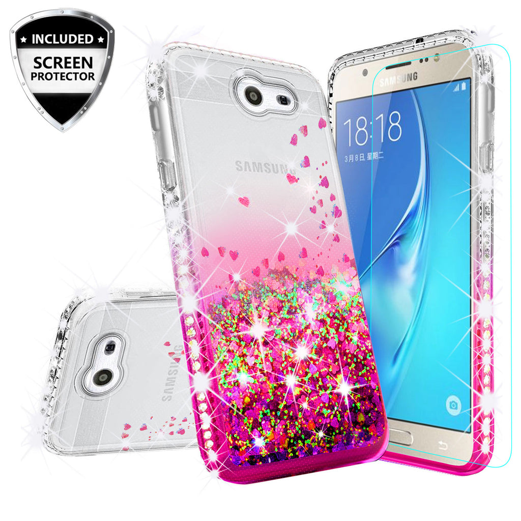 Samsung Galaxy J7 2017, Galaxy Halo Case Liquid Glitter Phone Case  Waterfall Floating Quicksand Bling Sparkle Cute Protective Girls Women  Cover for