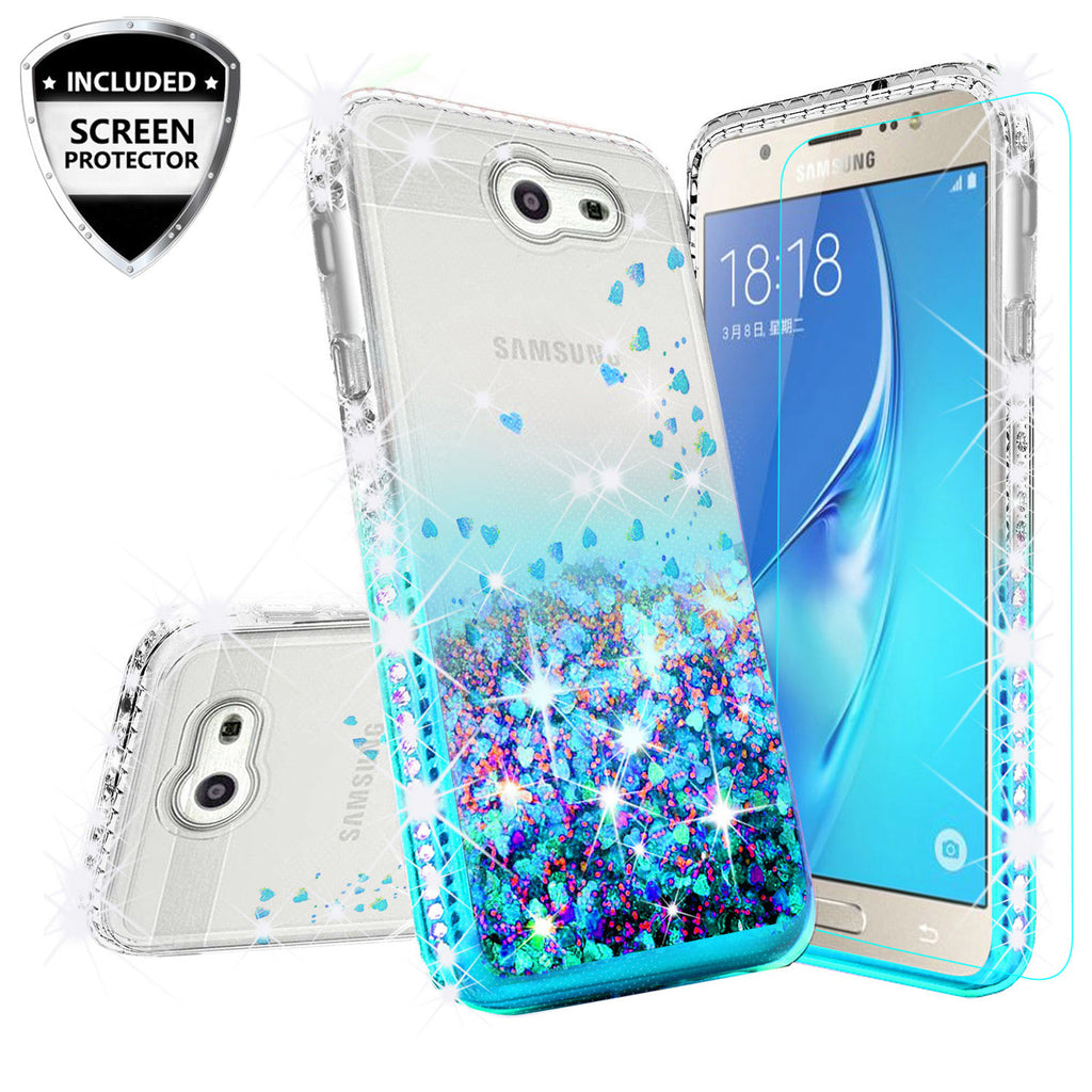 super popular e4f33 52728 Samsung Galaxy J3 (2017) ,Galaxy J3 Emerge Case Liquid Glitter Phone Case  Waterfall Floating Quicksand Bling Sparkle Cute Protective Girls Women  Cover ...
