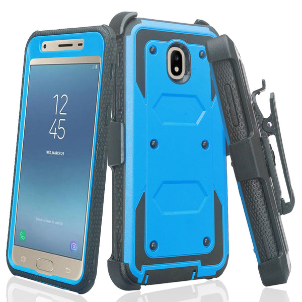 samsung galaxy j3 2018 heavy duty holster case - blue - www.coverlabusa.com