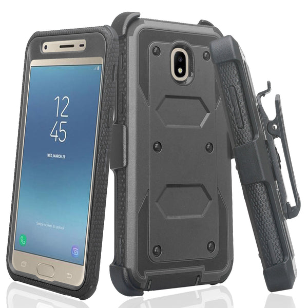 samsung galaxy j3 2018 heavy duty holster case - black - www.coverlabusa.com