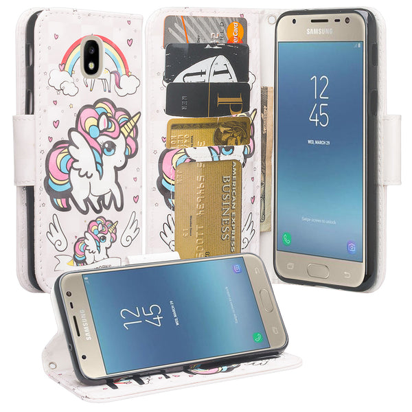 Samsung Galaxy J3 (2018) Wallet Case -white unicorn 2 - www.coverlabusa.com