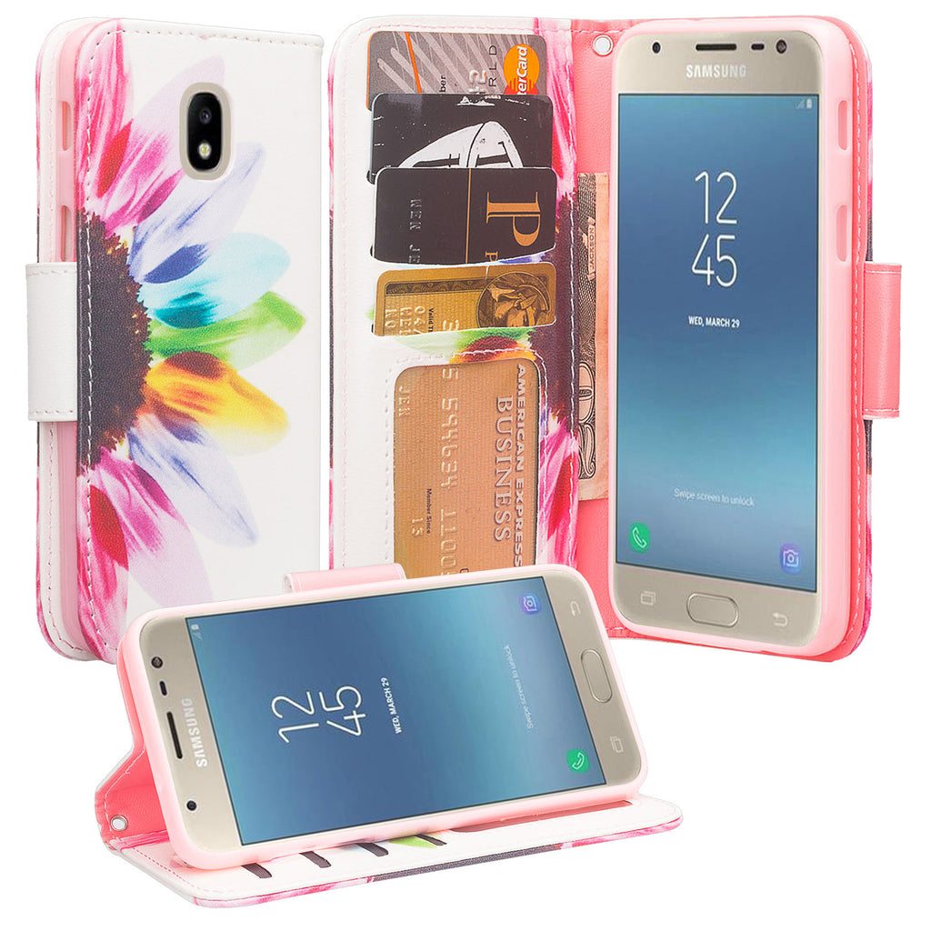 low priced da07d fc1f1 Samsung Galaxy J3 2018, J3 V 3rd Gen, J3 Orbit, Express Prime 3, SM-J337A  Case, J3 Star, J3 Achieve, J3 Aura, Amp Prime 3, Wrist Strap Leather Wallet  ...