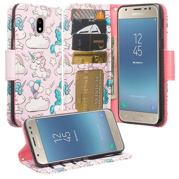 Samsung Galaxy J7 (2018) leather wallet case - pink unicorn - www.coverlabusa.com