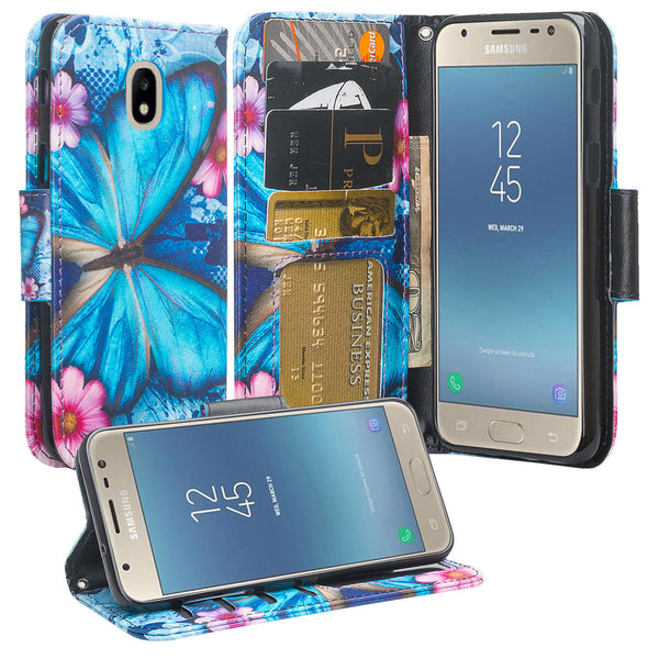 Samsung Galaxy J7 (2018) leather wallet case - blue butterfly - www.coverlabusa.com