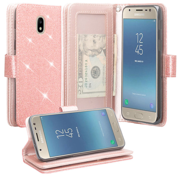 Samsung Galaxy J7 (2018) Glitter Wallet Case - Rose Gold - www.coverlabusa.com