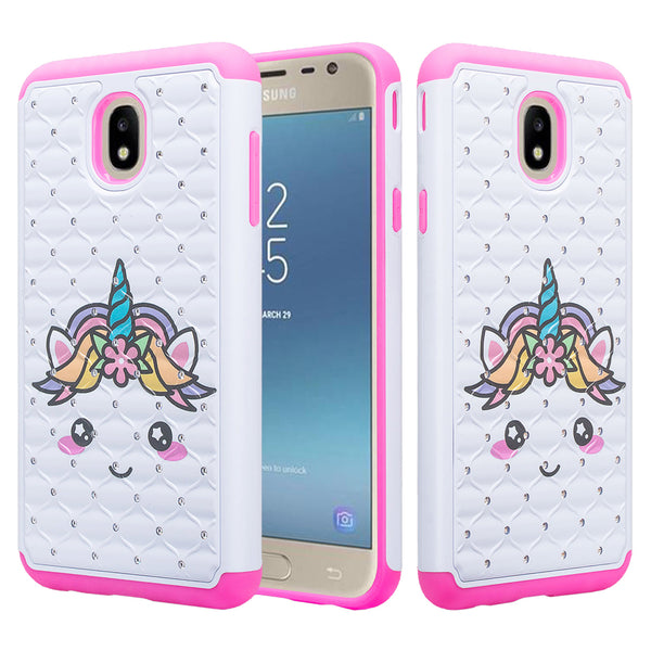 samsung galaxy j3 (2018) case crystal rhinestone - white unicorn - www.coverlabusa.com