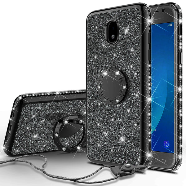 samsung galaxy j3 (2018) glitter bling fashion case - black - www.coverlabusa.com