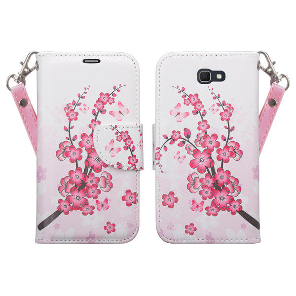 samsung  Galaxy j5 prime leather wallet case - cherry blossome - www.coverlabusa.com