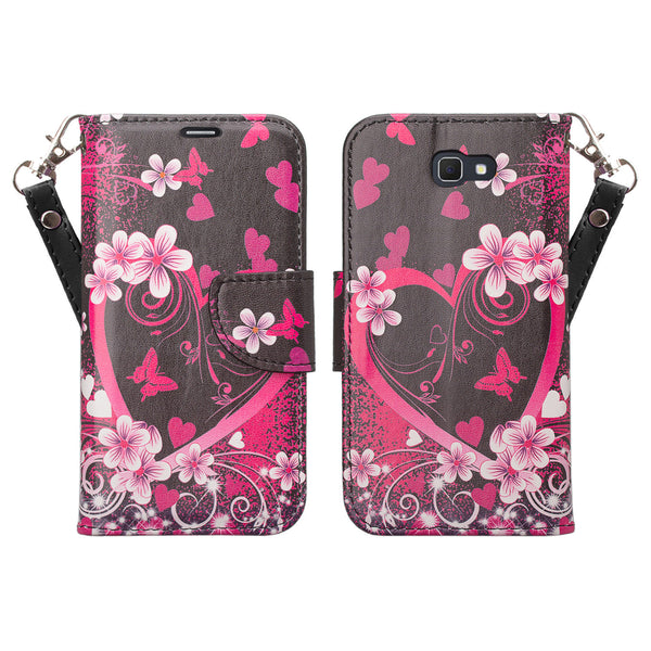 samsung  Galaxy j5 prime leather wallet case - heart butterflies - www.coverlabusa.com