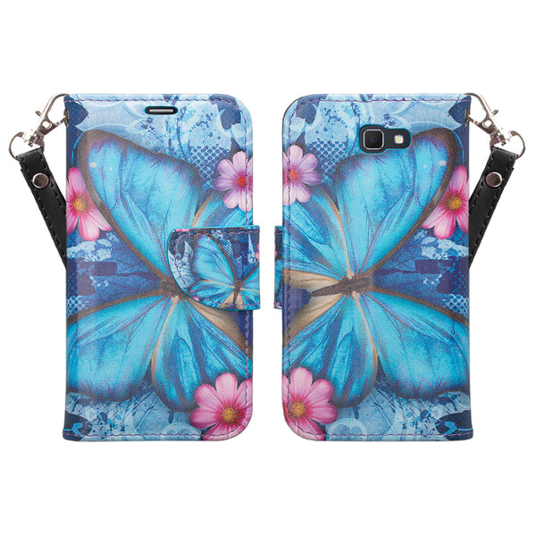 samsung  Galaxy j5 prime leather wallet case - blue butterfly- www.coverlabusa.com