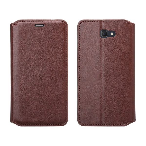 samsung Galaxy  j5 prime leather wallet case - brown - www.coverlabusa.com
