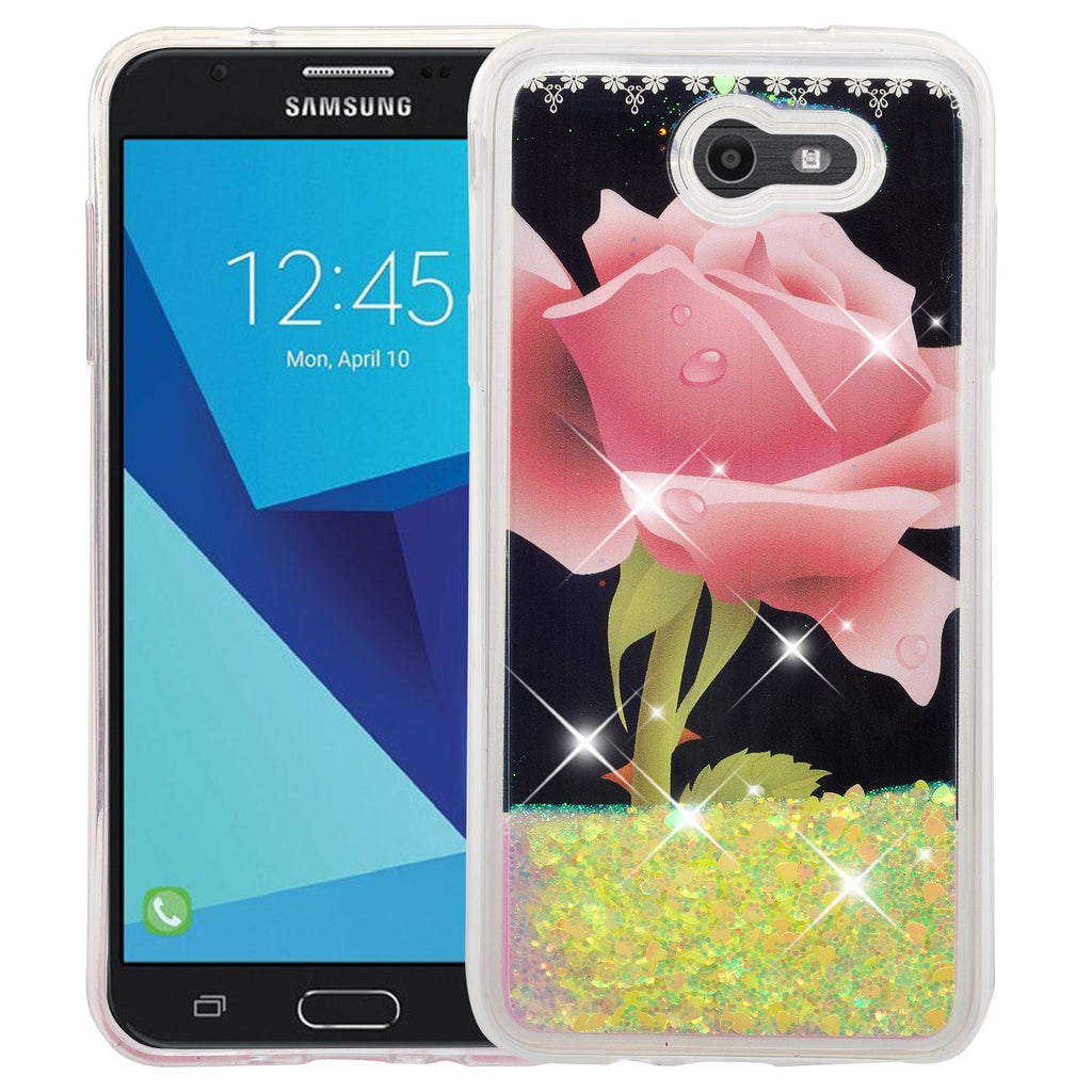 9ff9271e70 Samsung Galaxy J7 (2017) / J7 Sky Pro / J7 Perx / J7 V / J7 Prime / Galaxy  Halo Case, Luxury Bling Glitter Liquid Quicksand Cover - Hot Pink Rose