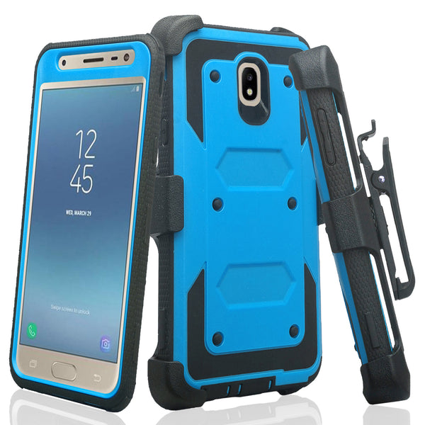 samsung galaxy j7 2018 heavy duty holster case - blue - www.coverlabusa.com