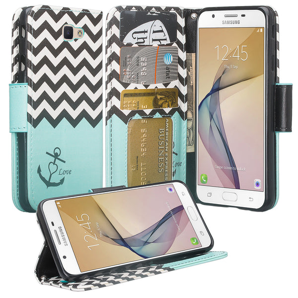 galaxy j7 prime wallet case - Teal Anchor - www.coverlabusa.com