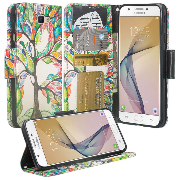 galaxy j7 prime wallet case - colorful tree - www.coverlabusa.com
