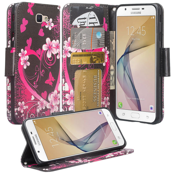 galaxy j7 prime wallet case - heart butterflies - www.coverlabusa.com